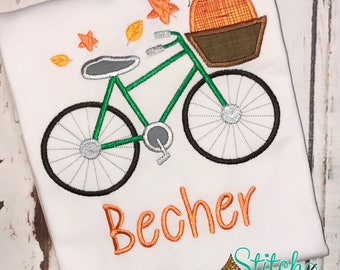 FALL Bicycle with Pumpkin, Gown, Romper or Bodysuit
