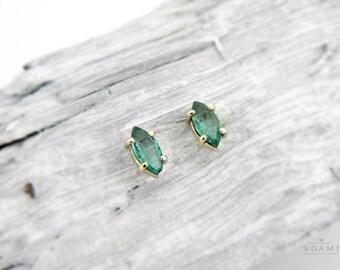 Gold emerald studs, emerald stud earrings white gold, rose gold emerakd studs