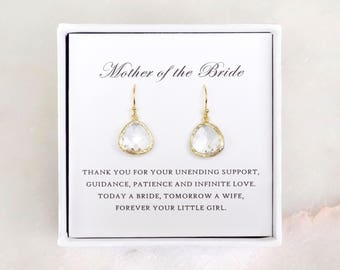 Mother of the Bride Gift from Daughter - Clear Glass Dangle Earrings, Wedding Jewelry & Thank You Card/ Wedding Day Gift/ Gift for Mother