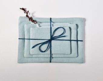 Linen Pouches   Set of 3   Light Blue
