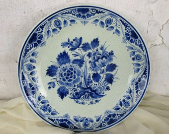 Porceleyne Fles Hand Painted Delfts Delft Blue Holland Plate Tile Flowers 9.05""