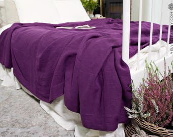 Linen queen king size magenta bedspread- ultra violet softened linen bed cover- purple stone washed linen bed cover