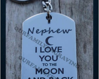 Nephew I love you to the moon and back keychain pendant necklace