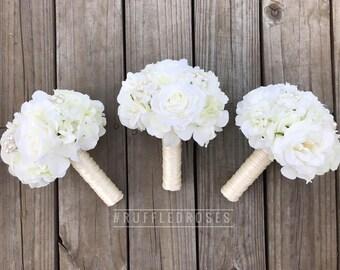 White Bridesmaid Bouquet, Cream Bridesmaid Bouquet, Ivory Bouquet, White Bouquet