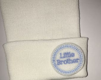 2 Ply Newborn Hospital Hat! Baby Brother! White Newborn Hospital HATS! Newborn Beanies. Baby Beanie! Perfect Gift.