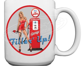 Mechanics Gas Pump Girl Large 15 oz. Coffee Mug