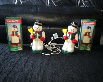 Christmas set of 2 lighted blow mold snowmen decorations plastic