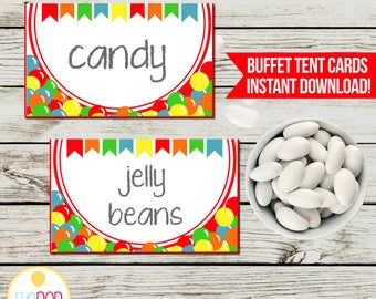 BOUNCE HOUSE Buffet Tent Cards, Jumping Birthday Party, Jump Party, Colorful, Chalkboard, Printable, Instant Download