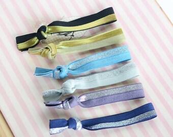 6 pcs set elastic hair ties assorted colors bridemaid gift