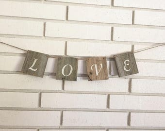 Rustic Love Wedding Decoration Wood Block Banner