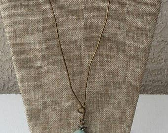 Large Turquoise Stone on Leather Cord - One of a kind!