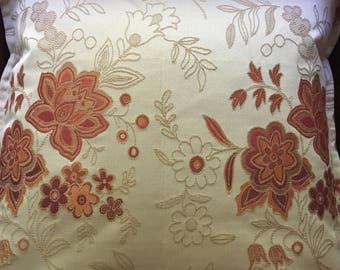 Pillow cover, orange floral pillow, orange and cream pillow, porch pillow
