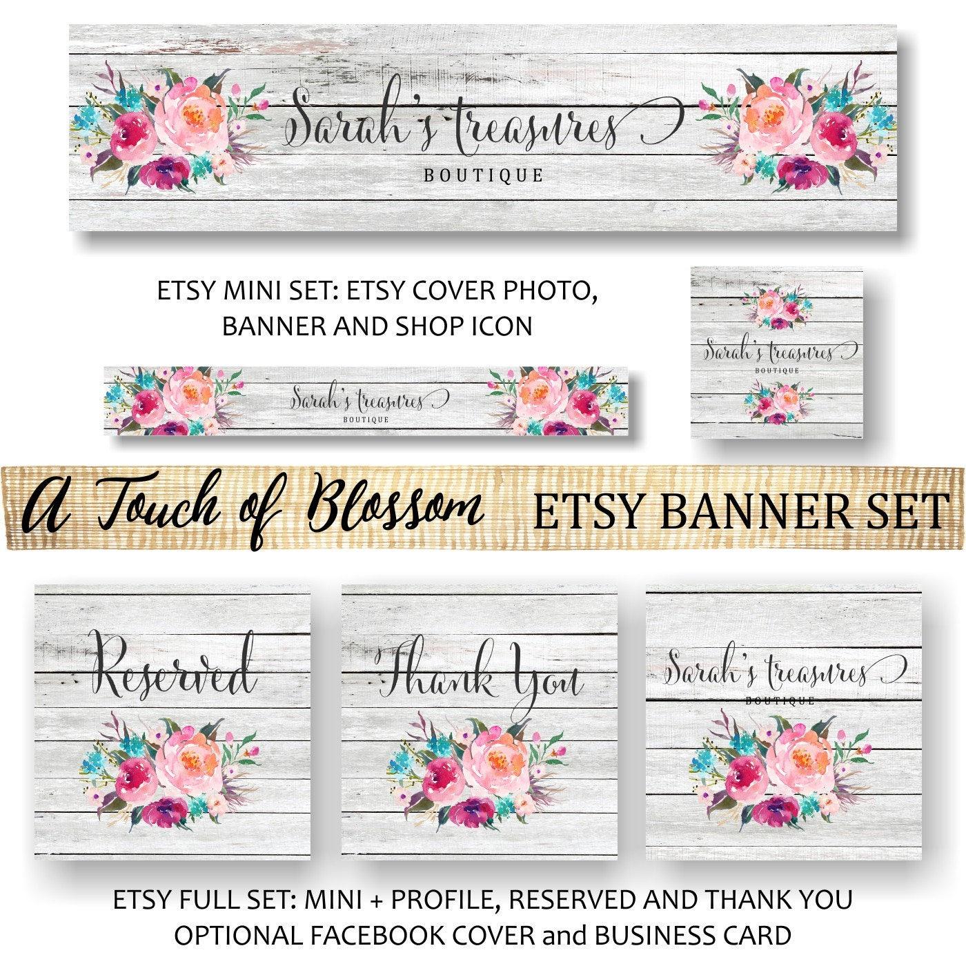 Etsy Banner Rustic Floral Flowers Peonies Wooden Pink Watercolor Facebook Business Card Website Shop