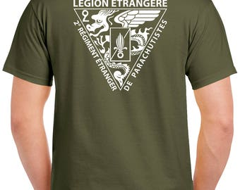 Foreign Legion T-Shirt - 2 Sided Tee - 2 REP - Airborne - Paratrooper - 0280-2