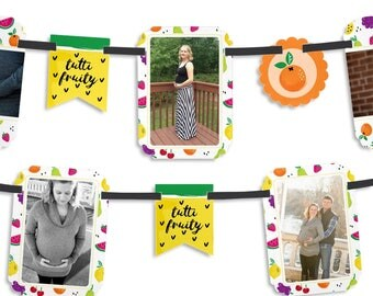Tutti Fruity Photo Garland Banner - CustomFrutti Summer Baby Shower Party Decorations - Two-tti Fruity - Tropical Summer Party