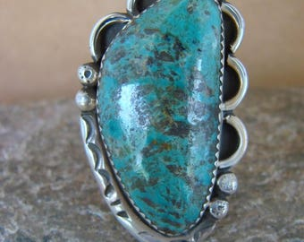 Navajo handmade sterling silver and freeform Royston turquoise ring size 10.75