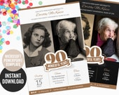 90th birthday invitation PowerPoint template for a create-it-yourself invite or evite | Instant Download