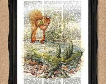 Woodland Creature Squirrel Nutkin Playing Ninepins Beatrix Potter Vintage Dictionary Page Nursery Art Christening Gift Kids room decorA214D