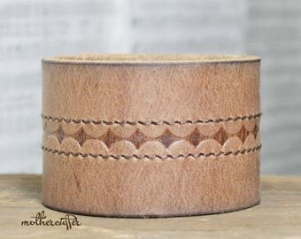 CUSTOM HANDSTAMPED wide light brown leather cuff with stitching by mothercuffer