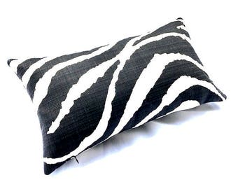 Free shipping/ZEBRA LINEN PILLOW CoverLUMBAR 13 X 22 inches-Black and Ivory-Animal print-Throw pillow-Decorative pillow-Accent pillow-Lumbar