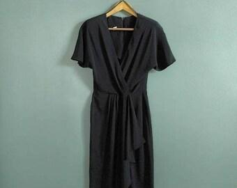SALE vintage 90's faux wrap sheath dress in black
