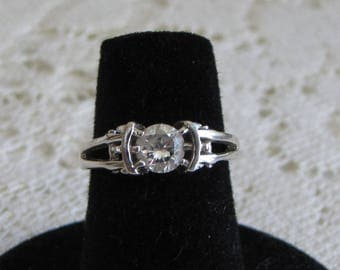 Sterling Silver Engagement Ring With Cubic Zirconia Solitaire Setting Vintage Jewelry and Accessories
