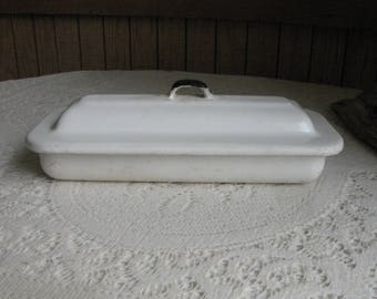 Enamel Instruments Tray White and Black Lidded Metal Instrument Containers and Storage Industrial Salvage