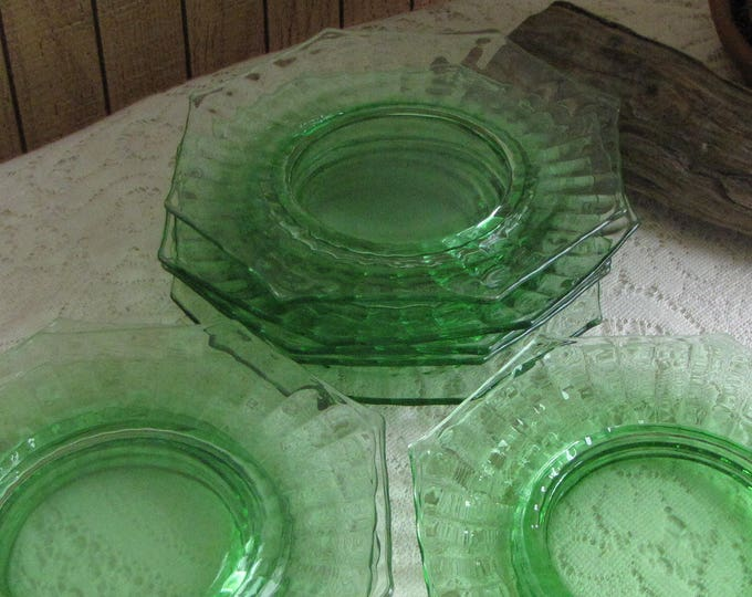Green Depression Plates Octagon Salad Plate Set of Ten (10) Vintage Dinnerware and Replacements