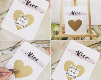 Scratch Of Gold Heart Will You Be My Bridesmaid Card