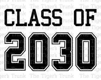 Class of 2030 cutting file package (SVG, JPG, DXF files)