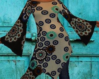 Tunique asymétrique , tunique longue , tunique ethnique    ' Blue Mandala  ...'