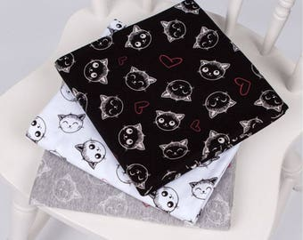 "Cats & Heart Pattern Single Cotton Stretchy Knit Fabric / 170 cm (66"") Width - 3 Colors Selection"