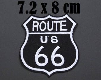 coat 7 x 8 cm fusible or sewing route 66 road 66 black white