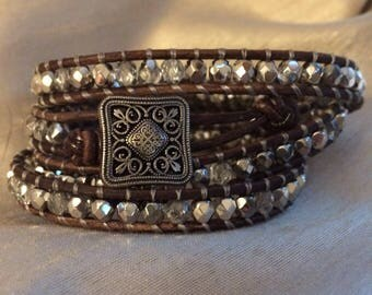 """4 Wrap Bracelet Gray Leather and Silver Glass Beads 5.5""""-6"""" Wrist Size Metal Button"""