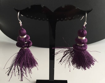 Earring collection rustle and for woman or teen deep purple color and argenteunique sewing thread