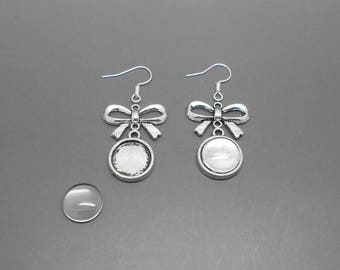 diy Kit with support bow tie and 12 mm cabochon Stud Earrings