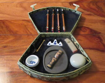 Beautiful Vintage Japanese Calligraphy 11 Pc. Set And Silk Case