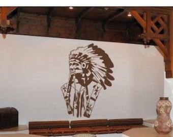 20% OFF Summer Sale American Indian wall decal, sticker, mural, vinyl wall art