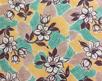 Vintage Feedsack Flour Sack Fabric Green Yellow Brown Floral 1930's 1940's 1950's Quilt Fat Quarter Patchwork
