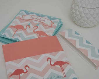 "Set of 6 cards and envelopes themed ""Flamingo"""