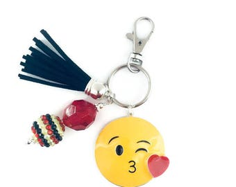 Emoji Key Chain/Kissing Emoji Key Chain/Blowing a Kiss/Purse Charm/Tassel Key Chain/Beaded Key Chain