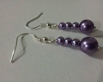 Wedding earrings silver purple pearls