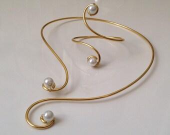 Set wedding necklace White Pearl arabesque aluminum gold bridal bracelet