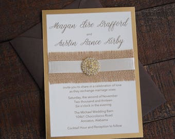 Burlap Wedding Invitation - Gold Wedding Invitation - Rustic Wedding Invitation - Gold Foil Invitation - Barn Wedding Invitation