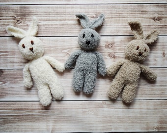 newborn bunny photo prop, Knit bunny, plus baby bunny, Photography prop bunny, Crochet bunny, amigurimi bunny,Baby toy