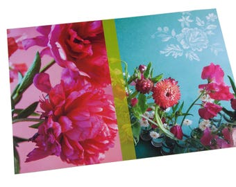 Set of laminated table pink Peony and immortal flowers