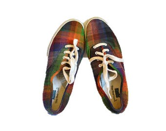 Plaid Keds vintage tennies Ankle shoeswomens size 8.5 90s grunge pixie lace up hipster indie autumn 8 9