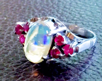 Solid Platinum Transparent natural Opal Ruby October birthstone or engagement Art Deco style vintage ring