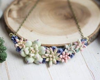 Succulent and Blueberry necklace. Woodland Necklace. Flower necklace. Succulent jewelry. Terrarium necklace. Succulent gift.