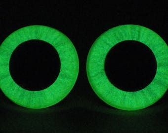 30mm Glow In The Dark Safety Eyes, Metallic Green Safety Eyes With Green Glow, 1 Pair Of Hand Painted Plastic Safety Eyes